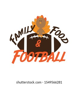 Family Pie Football Thankful -funny thanksgiving text, with american football ball, and pumpkin pie. Good for greeting card and  t-shirt print, flyer, poster design, mug.