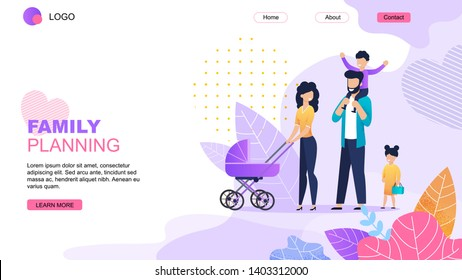 Family Planning Cartoon Landing Page Template. Common Joint Vacation Scheduling Online. Vector Parents with Baby in Stroller and Children Walking Flat Illustration. Happy Parenting and Childhood