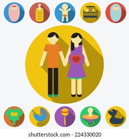 Family planning flat icons set, infographic design elements vector illustration