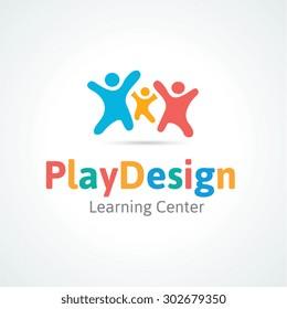 Family Play Design Vector Logo Template