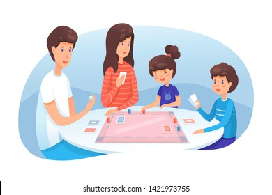 Family playing board game flat illustration. Parents with kids spending time together, having fun. Mom and dad with son and daughter enjoying table games. Indoor entertainment for adults and children