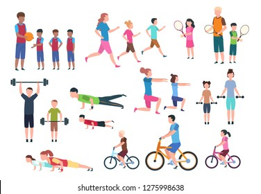Family playing sports. People fitness exercising and jogging. Sport active lifestyles cartoon characters vector set