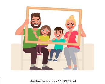 Family portrait. Dad, mom, son and daughter sitting on the couch, holding a picture frame. Vector illustration in cartoon style