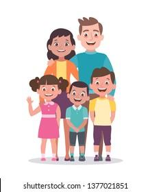 Retrato familiar. Padre, madre, hija e hijos. Retrato completo de los miembros de la familia juntos. Ilustración vectorial al estilo caricatura aislada en fondo blanco.