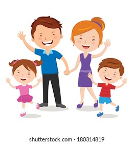 Family portrait. Happy family gesturing with cheerful smile.