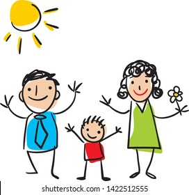 Family portrait - kids doodle art. Mother, father and child vector hand drawing. EPS. Set of three people in doodle style.