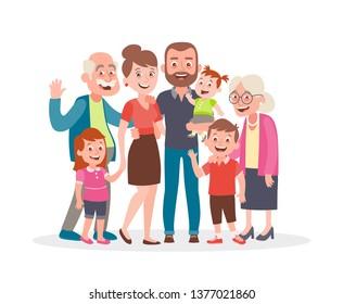Retrato familiar. Padres, hijos y abuelos. Familia multigeneracional. Retrato completo de los miembros de la familia juntos. Ilustración vectorial al estilo de las caricaturas aisladas en blanco.