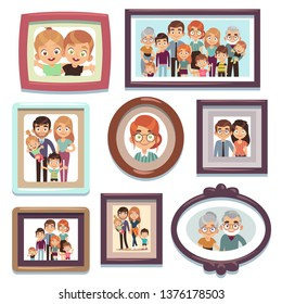 Family portrait photos. Pictures people photo frame happy characters relatives dynasty parents kids relationship, nostalgia framed photography flat vector template