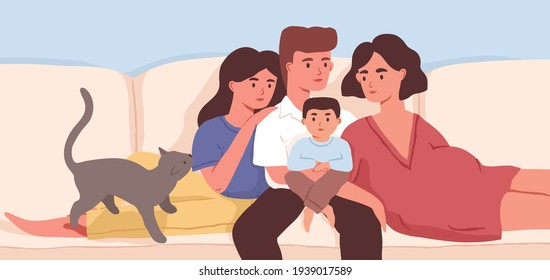 Family portrait of pregnant mother, father, children and cat. Parents, daughter, son and pet sitting on sofa at home. Colored flat vector illustration of happy dad, mom, brother and sister