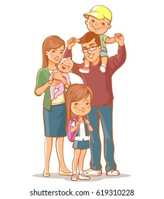 Family portrait. Young woman with little baby, man with boy on shoulders. Mother, father, sister, brother. Teenage girl wear school uniform, son sit on dad's shoulders. Husband and wife with children.