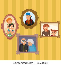 family portraits hanging on the wall in the living room. family portraits on a yellow background. vector illustration.