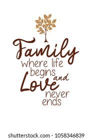 Family poster, Loving family print, Motivation quote, Loving family home decor