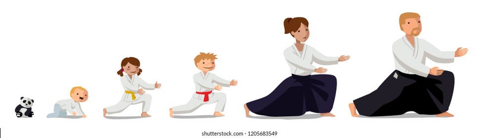 Family practicing Aikido. Colorful vector flat illustration. Suitable for oriental martial arts such as aikido, judo, karate, jiu-jitsu, budo