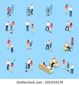 Family problems isometric icons with lack of money, quarrel and violence, alcoholism, blue background, isolated vector illustration
