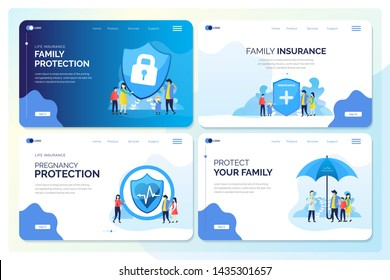 Family protect with insurance, illustration for web banner, landing page or header web