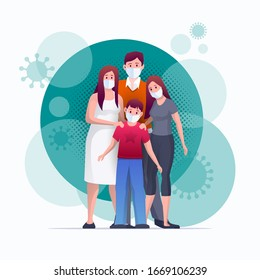 Family is protecting their children and them from virus COVID-19 and are wearing masks and stop the spread of viruses. Coronavirus quarantine. Vector illustration