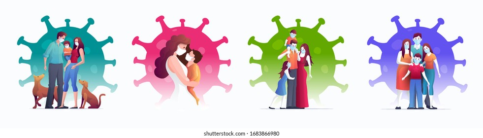 Family is protecting their children and them to virus COVID-19 and are wearing masks and stop the spread of viruses. Coronavirus quarantine. Vector illustration s