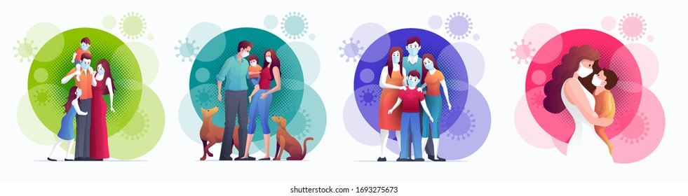 Family is protecting their children and them to virus COVID-19 and are wearing masks and stop the spread of viruses. Coronavirus quarantine. Vector illustration.