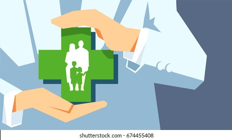Family protection. Insurance concept. Agent or doctor holds in hands family symbol isolated on gray background.