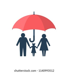 Family protection. Insurance concept. Vector illustration flat design. Isolated on white background. Paper chain people. Umbrella protects the family. Health care, safety. helping.