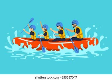 Family rafting vector illustration