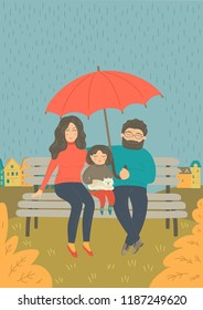 Father Protecting From Rain Stock Illustrations Images Vectors