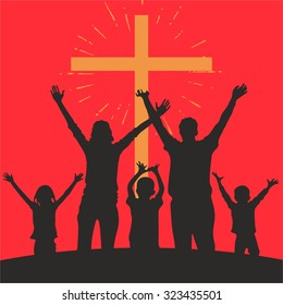 Family with raised hands and a cross