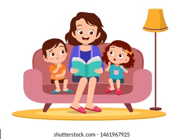 Family Reading a Book Together vector
