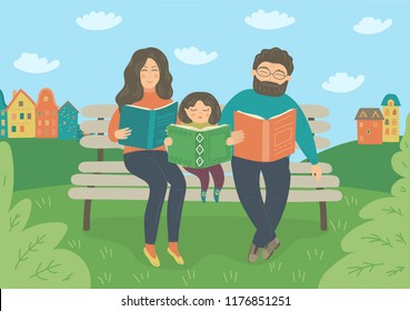 Family reading books on the bench outdoors. Mother, father and baby girl spending time together. Vector illustration.