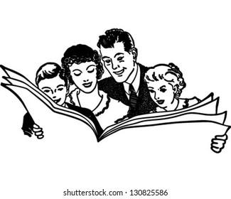 Family Reading Newspaper - Retro Clip Art Illustration