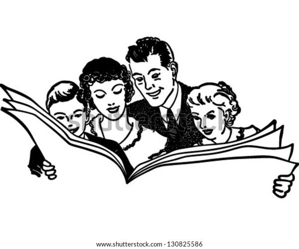 Family Reading Newspaper Retro Clip Art Stock Vector