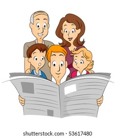 Family reading Newspaper - Vector