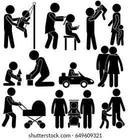 Family in Real Daily Moments of Life. Mother & Daughter, Father & Son, Parents & Children. Stick Figure Pictogram Icon