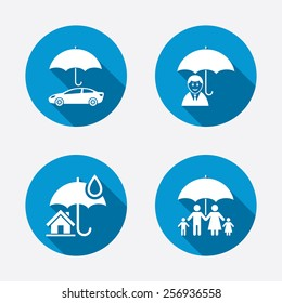 Family, Real estate or Home insurance icons. Life insurance and umbrella symbols. Car protection sign. Circle concept web buttons. Vector