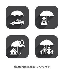 Family, Real estate or Home insurance icons. Life insurance and umbrella symbols. Car protection sign. Square flat buttons with long shadow.