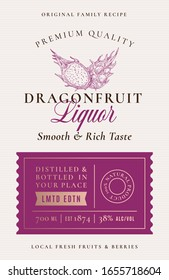 Family Recipe Dragon Fruit Liquor Acohol Label. Abstract Vector Packaging Design Layout. Modern Typography Banner with Hand Drawn Pitaya Silhouette Logo and Background. Isolated.