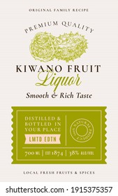 Family Recipe Kiwano Liquor Acohol Label. Abstract Vector Packaging Design Layout. Modern Typography Banner with Hand Drawn Fruit Silhouette Logo and Background. Isolated.