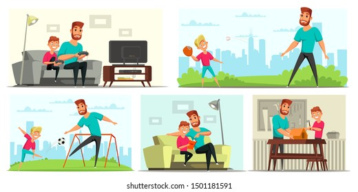 Family recreation flat vector illustrations set. Young father and happy son cartoon characters. Dad and child play video games, baseball and football. Parent and kid do homework, build nesting house
