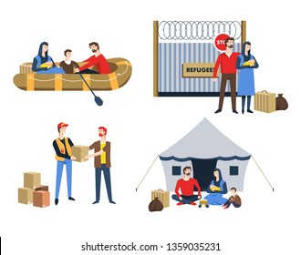 Family refugees parents baby and child baggage vector boat and border fence with wiring boxes with humanitarian aid tent camping resettlement illegal immigration political asylum immigrants war escape