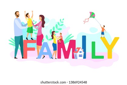 Family Relationship Colorful Word Concept Banner. Happy People with Children Cartoon Characters. Married Couple with Son. Traditional Values Poster. Boy Playing with Kite Flat Vector Illustration