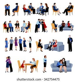 Family and relationship problems counseling and therapy with support group flat icons collection abstract isolated vector illustration