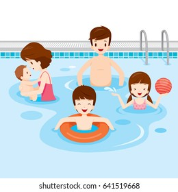 Family Relaxing In Swimming Pool, Healthy, Exercise, Sport, Activity, Body, Vacations, Holiday, Relationship