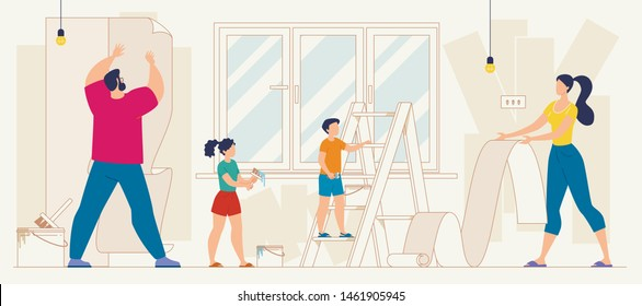 Family Repairing Home, Apartment Renovation Flat Vector. Kids Helping Parents to Wallpapering, Father Hanging Wallpaper Stripes on Wall, Mother Rolling Wallpaper, Children Pasting Adhesive with Brush