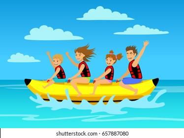 family riding banana boat. summer vacation time vector illustration