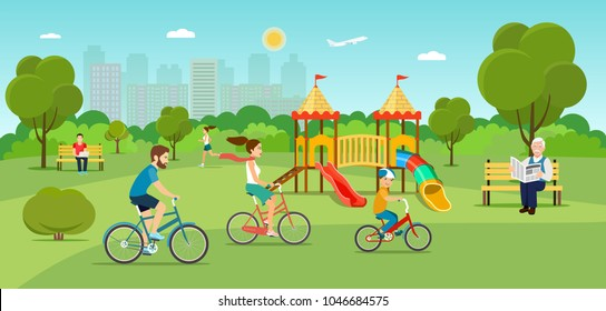 Family riding a bicycle Grandfather sitting on the bench and reading newspaper Young man sitting on the bench and working with laptop and Running girl in the park. Playground. Vector flat illustration