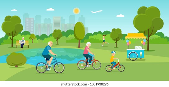 Family riding a bicycle Grandfather sitting on the bench and reading newspaper  and Running girl in the park. Ice cream cart. Vector flat illustration