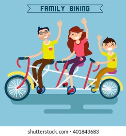 Family Riding a Bicycle. Tandem Bike. Modern Lifestyle. Vector illustration