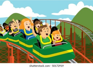 family riding roller coaster in amusement park