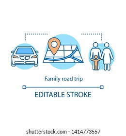 Family road trip icon. Time together idea thin line illustration. Tour through local community. Hometown trip with children. Outdoor activity. Vector isolated outline drawing. Editable stroke