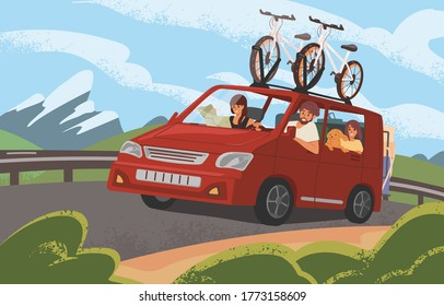 Family road trip on camper car along mountains. Active couple with children and dog going on vacation with bicycles by red automobile. Cartoon characters travelling in auto. Flat vector illustration